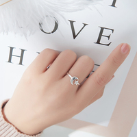 High Quality 925 Sterling Silver Lovely Girls Ladies Jewelry Rings Fashion Simple Cute Stars Moon Shape