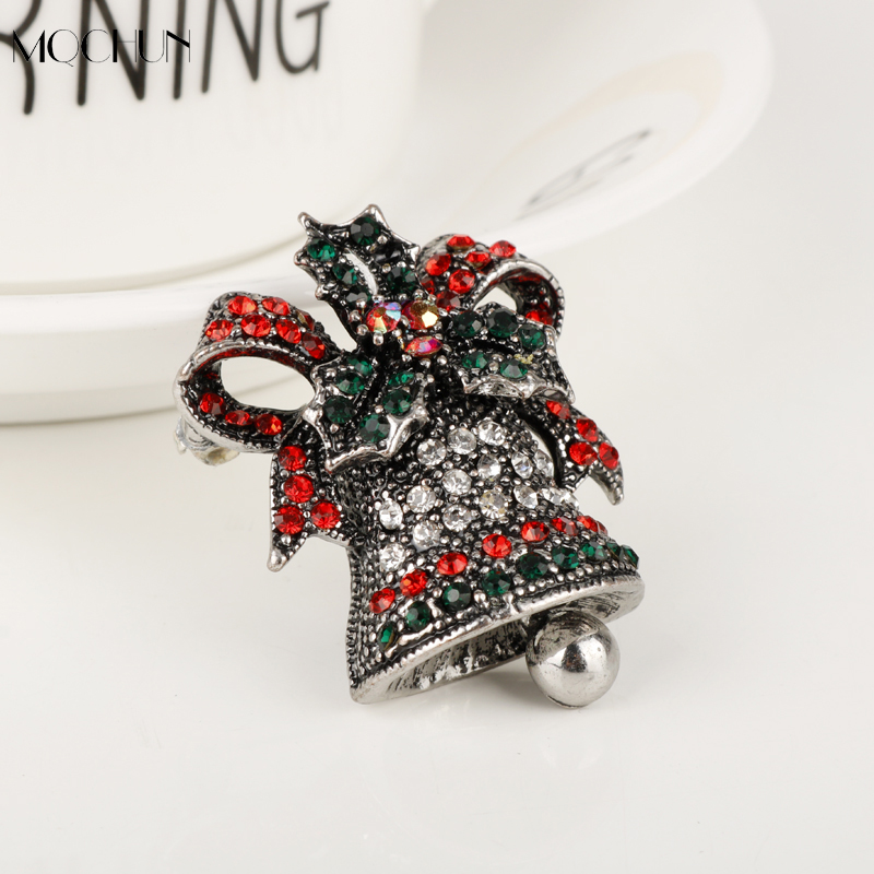 2017 Christmas Bells Brooches For Women Girls Gift Ancient Rhinestone Corsages Kids Sweater Scarf Accessories Pins Xmas Corsage