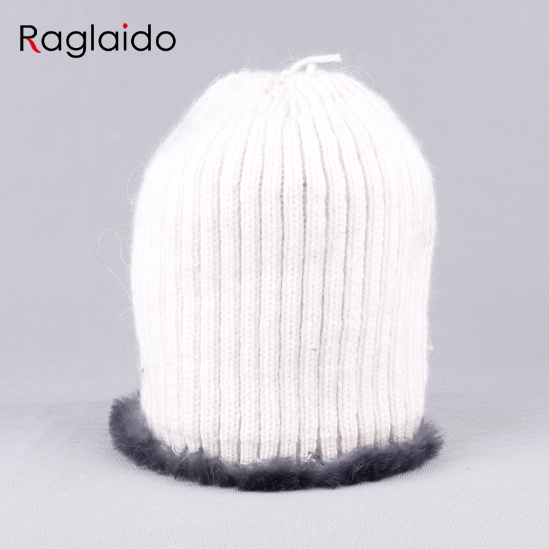 Raglaido Real Fur Hats for Women Winter Beanies Hand Knitted Sewing ...