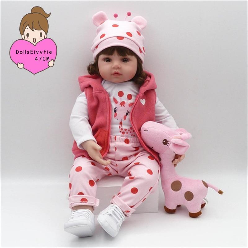 Baby Reborn bebe Doll 47cm Soft Silicone Rebirth doll Slim Silicone Dolls menina Doll Christmas Gift