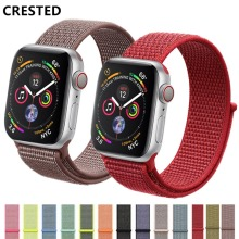 CRESTED Sport Loop strap For Apple Watch band 4 42mm 38mm 3 iwatch band 44mm 40mm correa Nylon wrist bracelet watch Accessories(China)