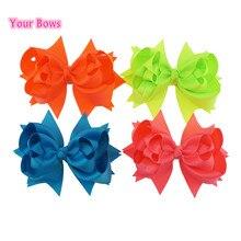 цена на Your Bows 5 Inches Hair Bows 3 Layer Solid Ribbon Bows Hair Clips Headbands Girl Headwear Cute Hairpin Kids Hair Accessories