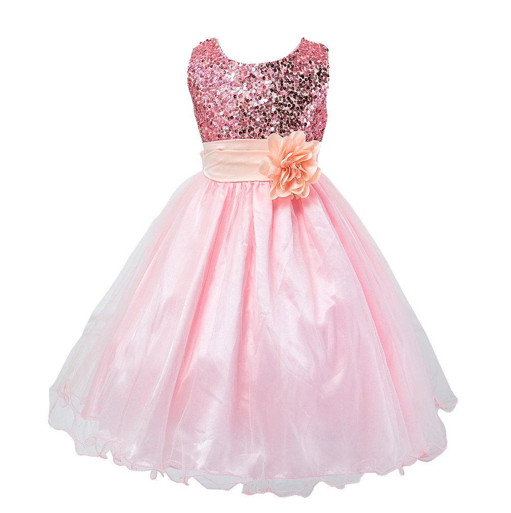 Baby girl pink sequin dress - Princess Girl Dress 2015 Baby Girls Sequins Tulle Flower Party Dress Gown Formal Wedding Dresses