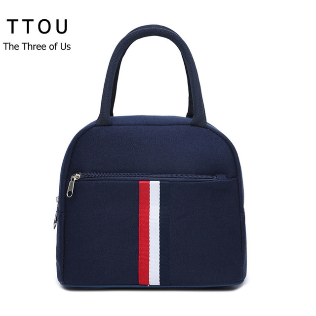 Ttou Women Lunch Bag Portable Insulated Picnic Box Oxford Solid Thermal Food