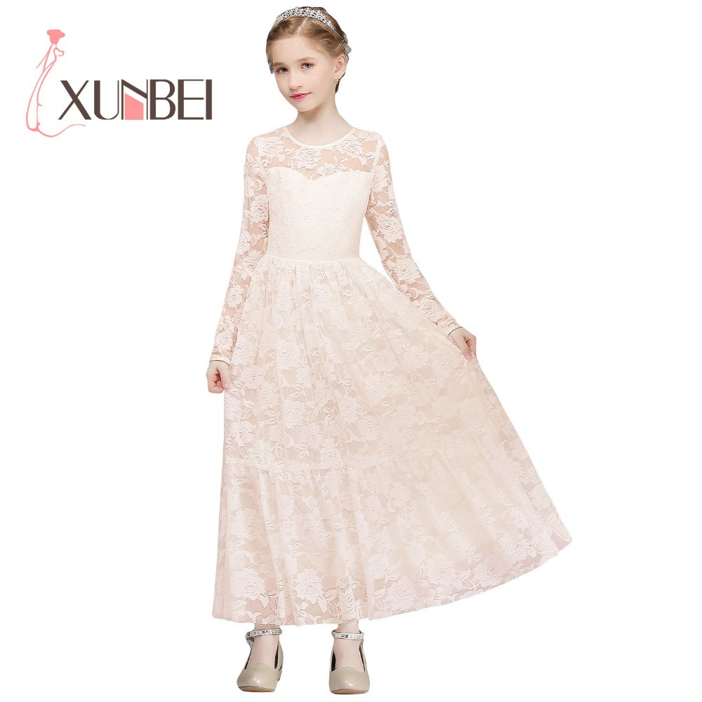 Princess Floor Length Lace   Flower     Girl     Dresses   2019 Long Sleeves   Girls   Pageant   Dresses   First Communion   Dresses   Party   Dress