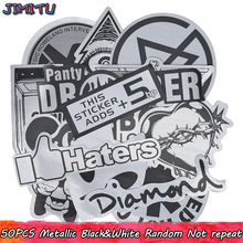 50 stks metallic kleur zwart-wit stickers willekeurige graffiti sticker voor motorfiets stickers kids diy laptop bagage skateboard
