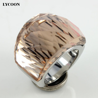 Fashion Women Luxury Brand Crystal Jewelry Ring 316L Stainless Steel With Transparent Champagne Cut Crystal Ring