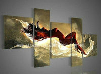 Free Shipping Handpainted 5 Piece Modern Abstract Canvas Wall Art Oil Painting Nude Girls Pictures Unique