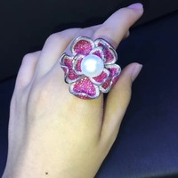 cocktail ring natural fresh water pearl flower ring 925 sterling silver with cubic zircon rose red color fashion women jewelry