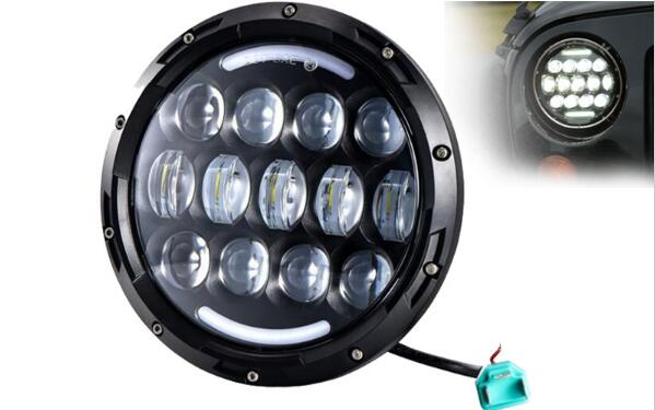 1pcs 78w Hi/Lo Beam H4 H13 LED Headlight with DRL 7 inch Headlamp for Jeep for harley Davidson for Cruiser Trucks 4wd Lights 1pcs 5 75 inch led motorcycle projector daymakers 5 75 inch headlight for harleys dyan h4 hi lo beam lights lamp bulb angle eye