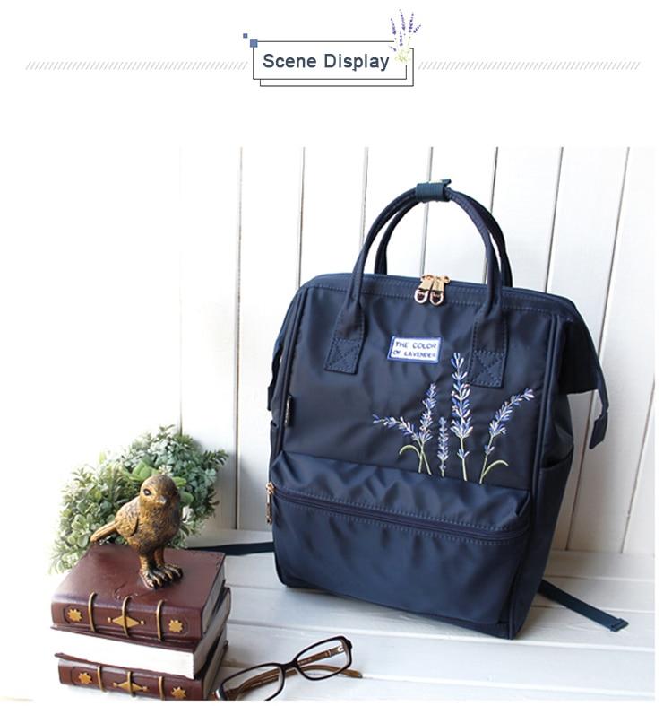 Flower Princess Embroidery Nylon Women Backpack Water-resist Laptop Bag College Travel Bagpack for Girl Daypack Mochila Feminina