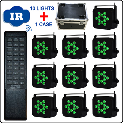 10 Light + 1 Charging Road Case Infrared Remote Control 12PCS 10W RGBWA 5in1 Battery Operated Wireless DMX LED Uplighting