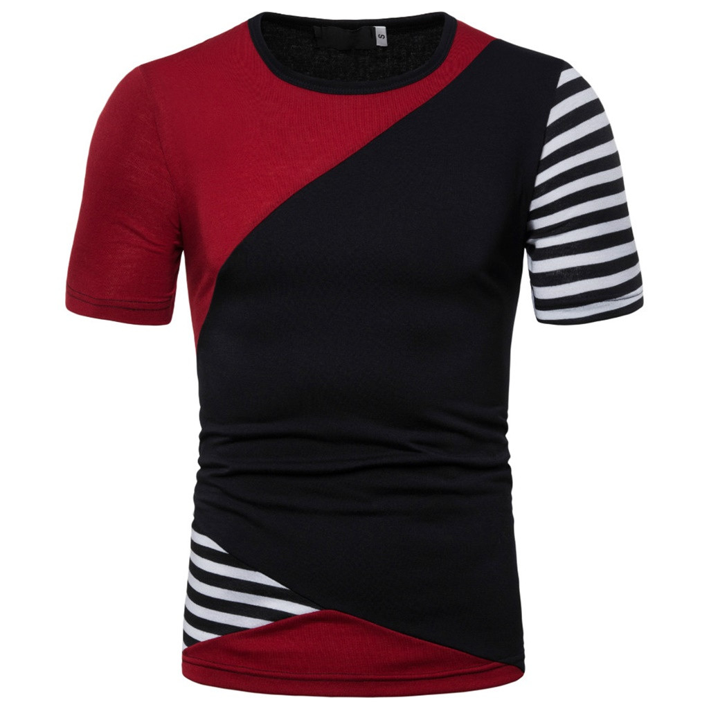 2019 Personality Men Summer T Shirt Stitching color Slim Splice Casual Sport O neck Short Sleeve Shirt T shirt Men Tops XXF in T Shirts from Men 39 s Clothing