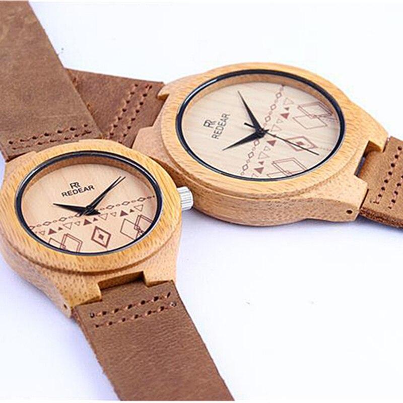Luxury Brand REDEAR Bamboo Wood Watch Men Women Watches Fashion Genuine Leather Wooden Men's Watch Women's Watches Clock saat new men design bamboo wristwatches with wider genuine cowhide band for men and women luxury wood wrist watch as gifts
