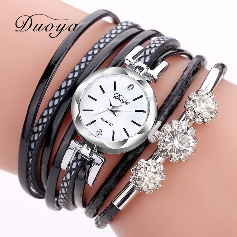 Bracelet Watches For Women Duoya Fashion Brand Silver Crystal Dress Casual Clock Quartz Watch Luxury Vintage Wristwatches 2017 luxury brand new silver watch women fashion quartz wristwatches butterfly rose dial watches women dress quartz watch clock