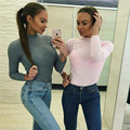 Women Winter Slim Sweater Top 2017 Long Sleeve Turtleneck Knitted Pullovers Sweater Black Jumper Shirt White Autump Crop Top