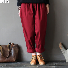 TaFiY 2017 Vintage Women Autumn Harem Pants Elastic Waist Solid Loose Cotton Twill Trousers For Women Casual Wide Leg Pants