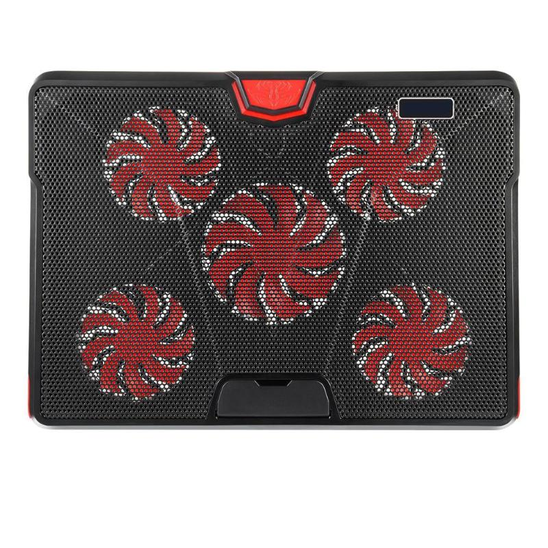 DC 5V Laptop Cooler Cooling 5*Fan Pad Mat For 13-17 inch Gaming Notebook Cooling With LED Lights 2 USB Ports maitech dc 12 v 0 1a cooling fan red silver