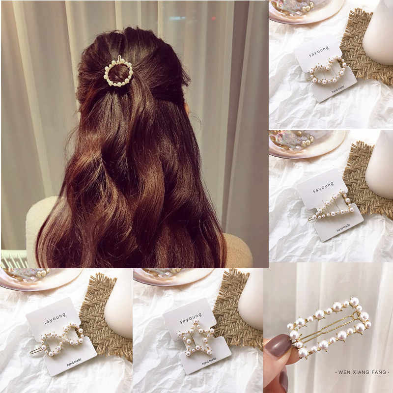 Wholesale 2019 Full Pearl Hair Clips Snap Barrette Stick Retro Bow Clip Bangs Clip Card for Women Ladies Jewelry Hairgrips