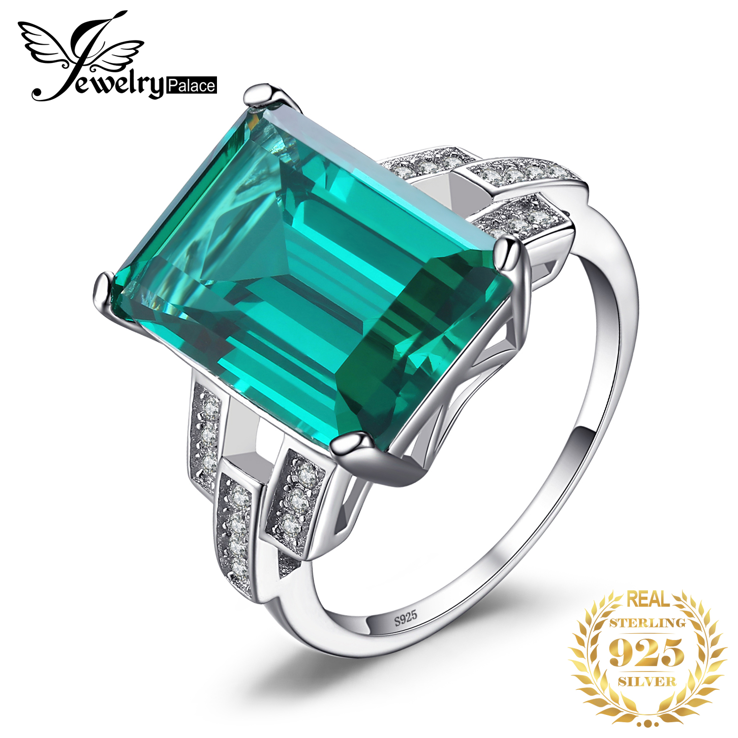 JewelryPalace Luxury 5.9ct Created Nano Russian Emerald Cocktail Ring 925 Sterling Silver Ring for Women Fine Wedding Jewelry