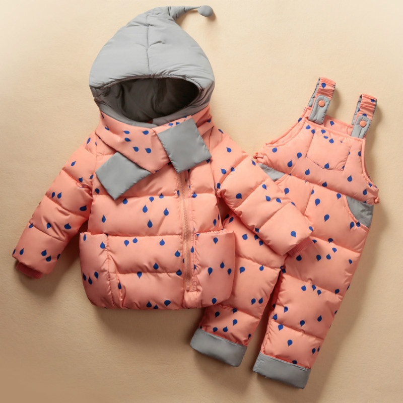 2017-2018 Winter Kids Clothes Warm Baby Babys Girls Down Coat Hooded  Children Clothing Sets Toddler Jacket   Set new warm boys girls thin down cotton coat baby kids winter spring autumn down jacket children fashion hooded outwear clothes