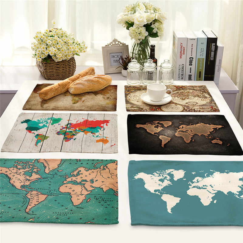 1Pcs World Map Pattern Kitchen Placemat Dining Table Mat Tea Coaster Cotton Linen Pad Bowl Cup Mats 42*32cm Home Decor MAP0001