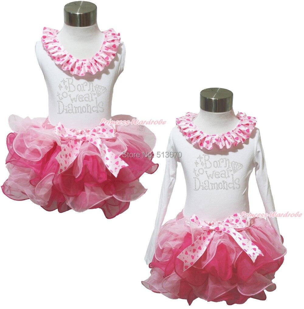 ФОТО White Top Rhinestone Born To Wear Diamond Girl Light Hot Pink Petal Skirt NB-8Y MAPSA0385