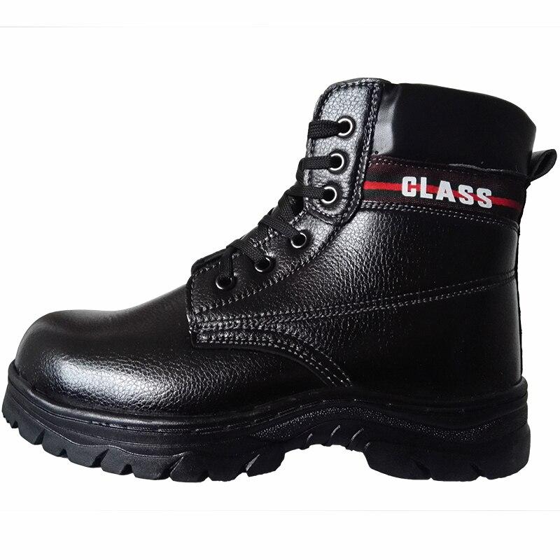 Travail Peluche Neige En Coton Embout Cuir Au Cheville forme Noir Hommes D'hiver Bottes Plate Chaud Taille Chaussures De Souple Grande Sécurité Mode Fourrure Acier wvS1q74x