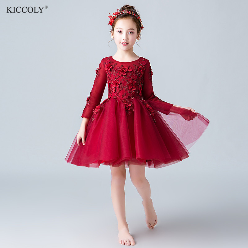 Elegant Beaded Appliques Flower Girl Dress Party Pageant Gown Red Lace Long Sleeve Princess Wedding First Communion DressesElegant Beaded Appliques Flower Girl Dress Party Pageant Gown Red Lace Long Sleeve Princess Wedding First Communion Dresses