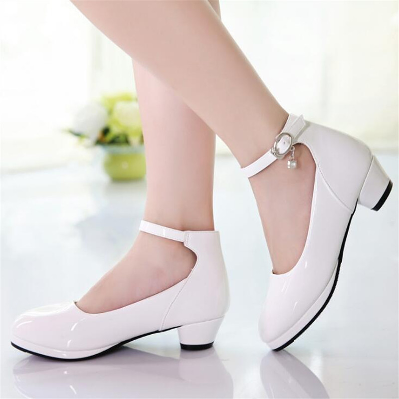 2019 Spring New Girls Leather Shoes Children's Princess High Heels Black White Girls Wedding Party Dance Shoes