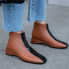 купить Casual Shoes Women Genuine Leather Low Heel Ankle Boots High Top Office Pumps Lady Punk Shoes 2019 Square Toe SlingBacks Shoes по цене 4514.13 рублей