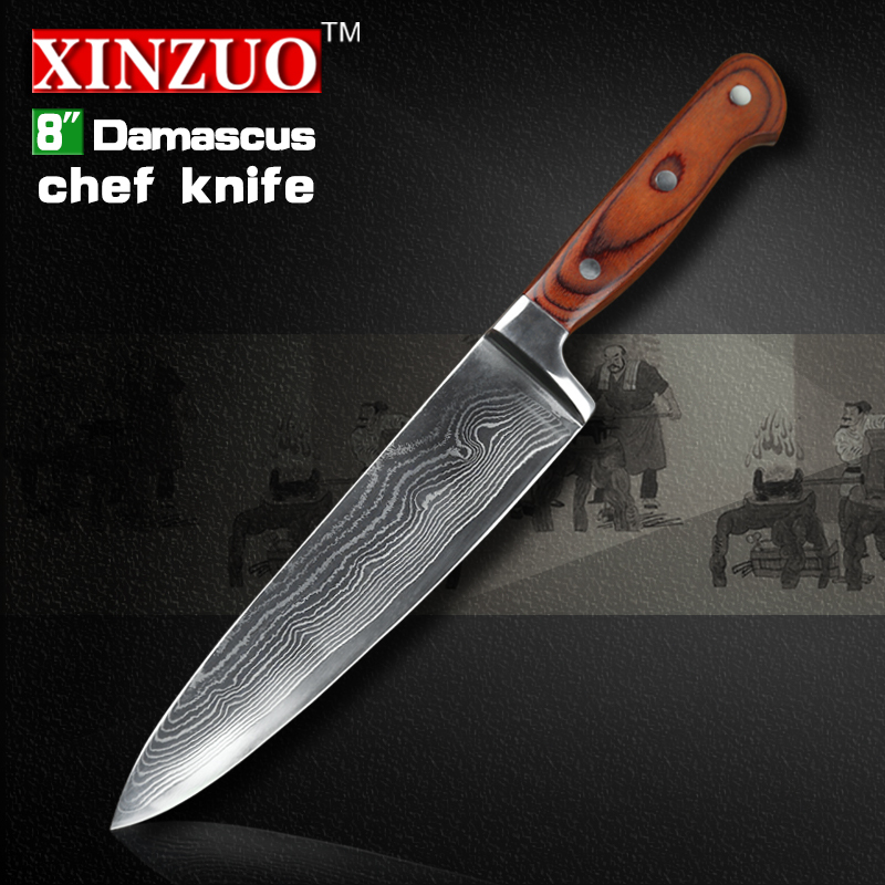 XINZUO 8 inch chef font b knife b font 73 layers Japanese VG 10 Damascus steel