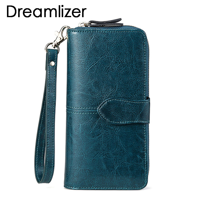 Brand Wax Oil Real Leather Women Wallet Large Compartment Long Leather Female Clutch Purse Cellphone Bag Coin Wallet Lady
