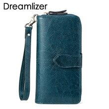 Brändi vahaõli Real nahast naiste rahakott Suure kambriga pikk nahast naiste siduri rahakott mobiiltelefon kott mündi rahakott daam