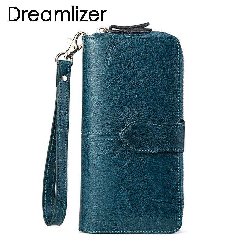 Cartera de cuero auténtico de cera de marca para mujer con compartimento grande de cuero largo para mujer, cartera para teléfono móvil, monedero, billetera para mujer