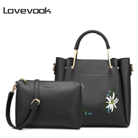 LOVEVOOK Women Bag Female Handbags High Quality PU Shoulder Crossbody Bag With Embroidery 2 Psc S