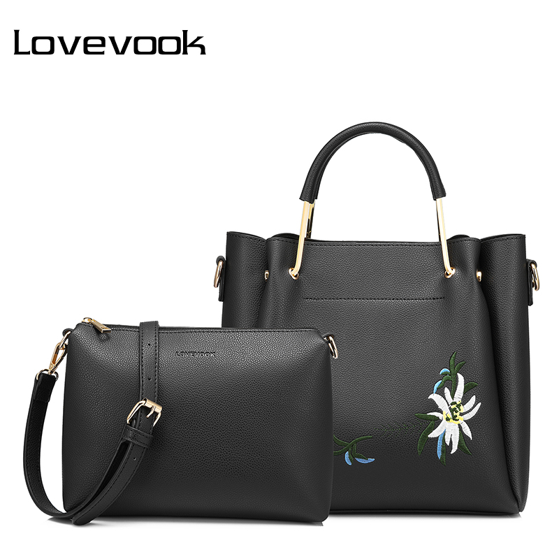 LOVEVOOK women bag female handbags high quality PU shoulder crossbody bag with Embroidery 2 psc./s tote messenger bags for women high quality women s handbags
