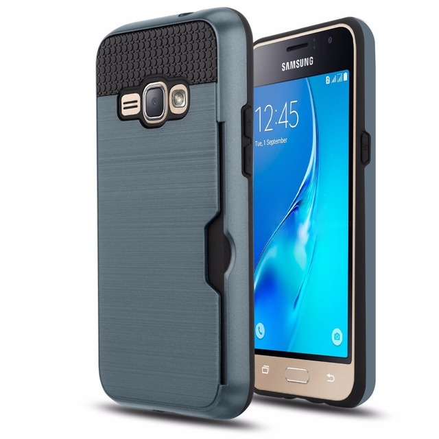 on sale bb6c1 a2735 US $2.72 9% OFF|Phone Case for Samsung Galaxy J1 2016 Case for Galaxy J1  2016 SM J120F Metallic Color Card Slot Back Cover for Samsung J1 2016-in ...