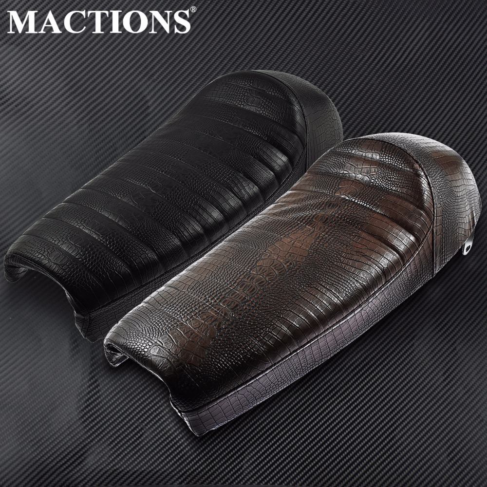 Motorcycle Crocodile PU Leather Vintage Hump Cafe Racer Seat For Suzuki GS For Honda CB For Yamaha Brown/Black image