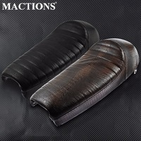 Motorcycle Crocodile PU Leather Vintage Hump Cafe Racer Seat For Suzuki GS For Honda CB For Yamaha Brown/Black