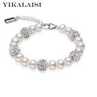 2016 Charm Bracelet Pearl Jewelry Crystaline Bracelet Natural Freshwater Pearl 925 Sterling Silver Bracelet For Women