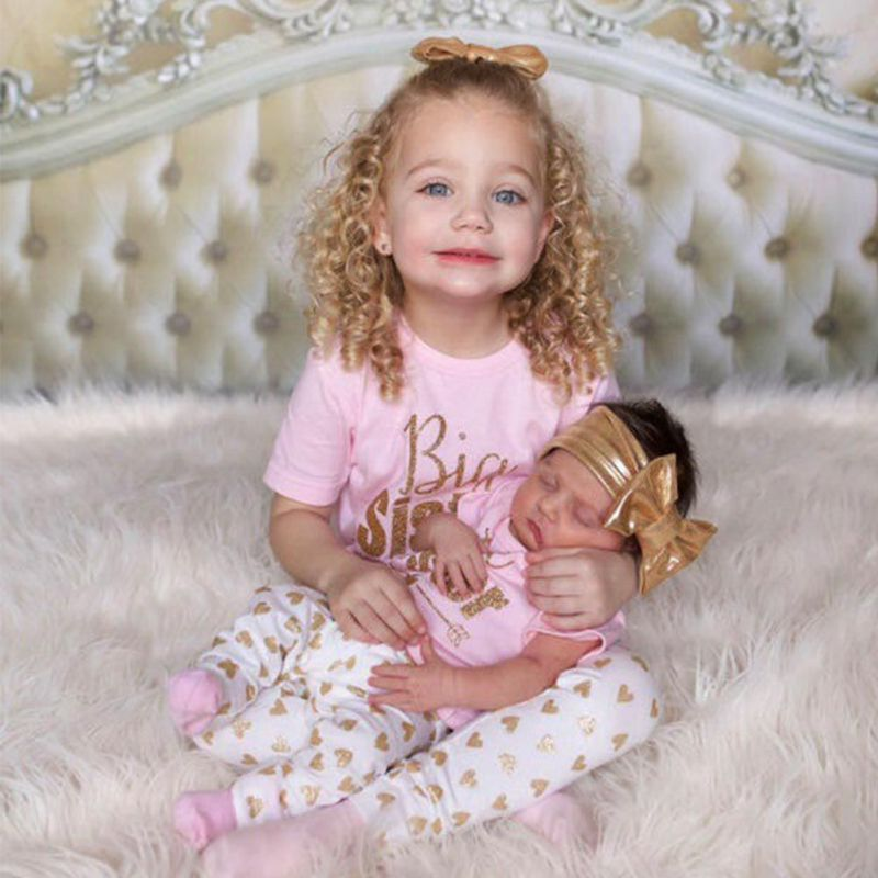 Sister Match Clothes Big Sister T-shirt Tops Pant Little Sister Baby Bodysuit+Pant Heart Print Outfit Clothes 2Pcs Set autumn 2pcs baby girl clothes set print little animal unicorn horse rainbow long sleeve t shirt tops trousers jeans pant outfit