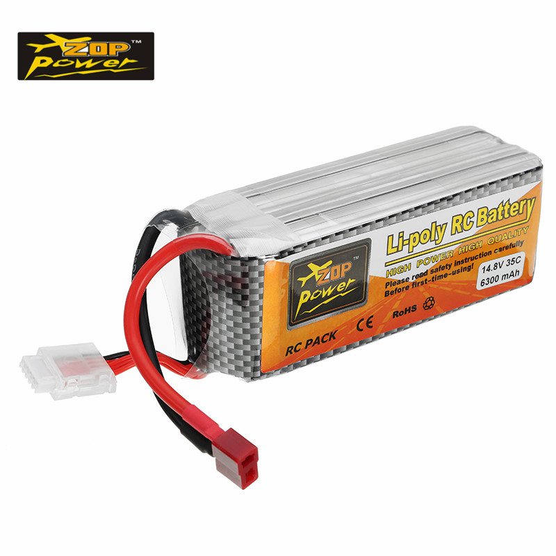 Rechargeable ZOP Power 14.8V 6300mAh 35C 4S Lipo Battery T Plug for RC Car RC Airplane Toys Models Parts Accessories rechargeable lipo battery zop power 9 6v 1500mah 35c lipo battery jst t plug connection for rc helicopter models accessories