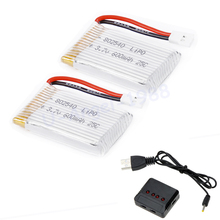 2pcs/lot 3.7V 600mAh 25C Capacity Lipo Battery 802540 + X4 Charger For Molex 50005 RC Quadcopter Drone