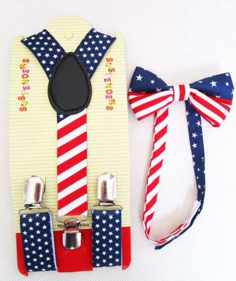 Free Shipping 2018 New Fashion Kids Children Boys USA Flag Print Bow Ties And Suspenders Sets