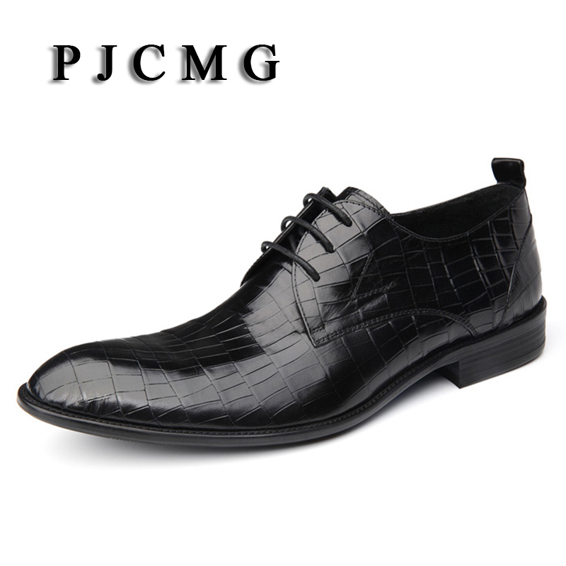 PJCMG Fashion Italian Designer Formal Mens Dress Genuine Leather Black/Red Luxury Wedding Flats Office For Man Shoes fashion top brand italian designer mens wedding shoes men polish patent leather luxury dress shoes man flats for business 2016