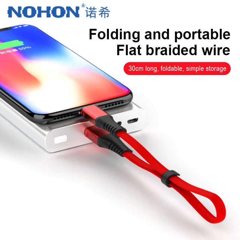 NOHON portátil Cable de cargador USB para iphone X XS X MAX XR de sincronización de datos de carga rápida Cable para iphone 8 7 6 S 5 5S 5C más 30 CM