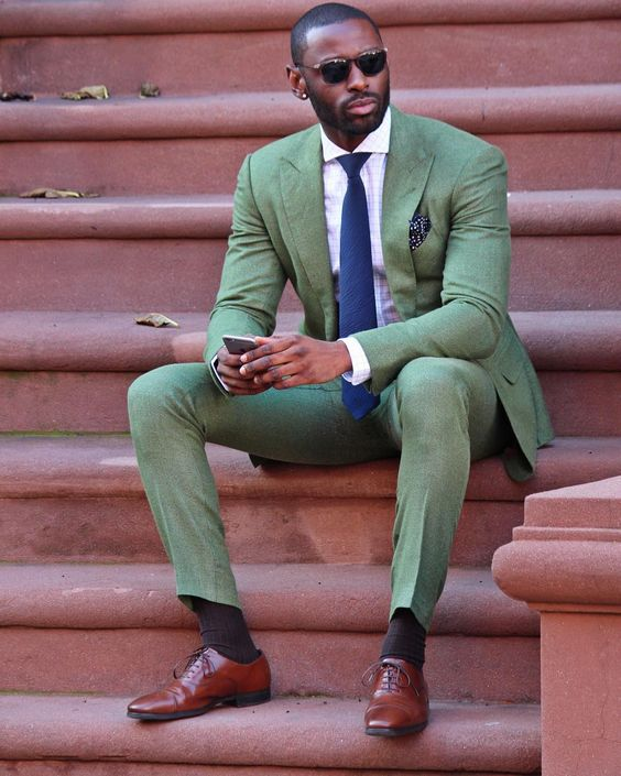 Latest Coat Pant Designs Green Casual Men Suit Slim Fit 2