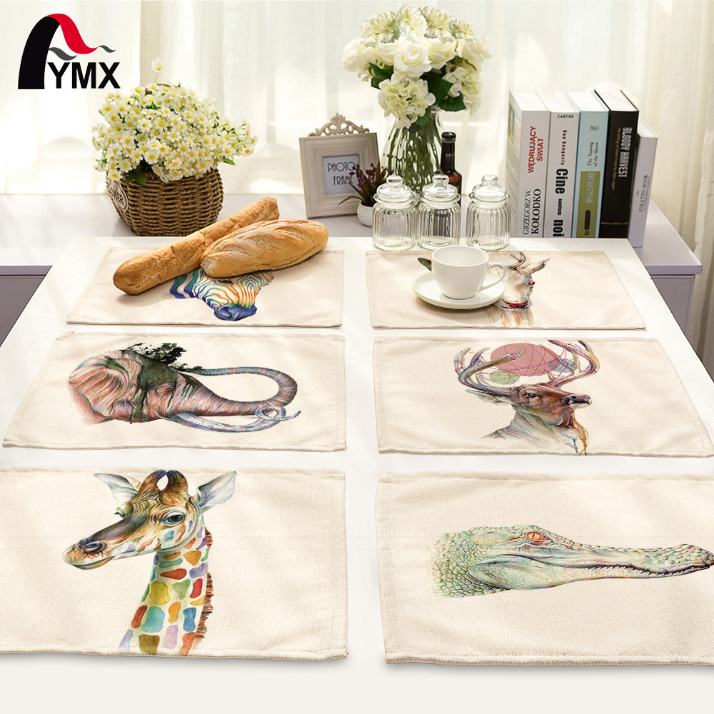 42*32cm Creative Animal Style Dining Table Napkin Set Elk Zebra Table Bowl Dining Mats Kids Table Set Decoration Accessories