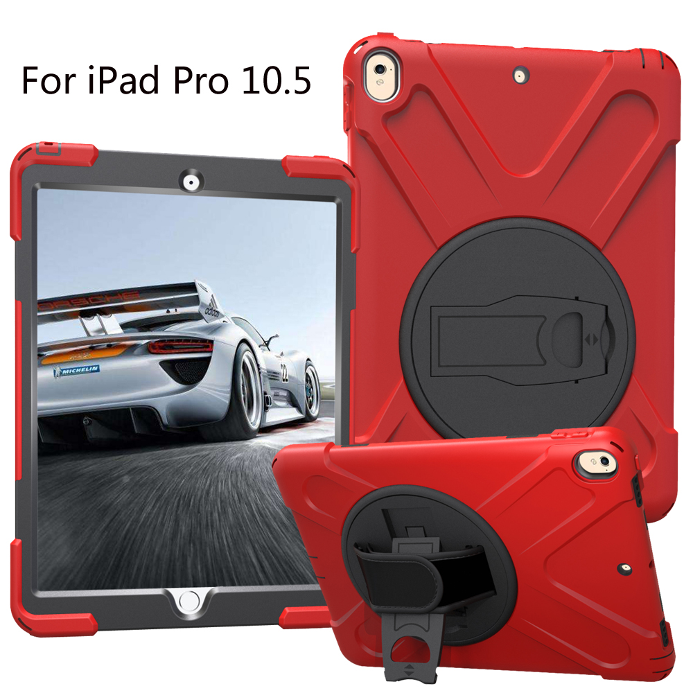 New 2017 Shockproof Kids Protector Case For iPad Pro 10.5 Heavy Duty Silicone Hard Cover kickstand design Hand bracel case for apple ipad pro plus 12 9 tablet heavy duty rugged impact hybrid case kickstand protective cover for ipad pro 12 9